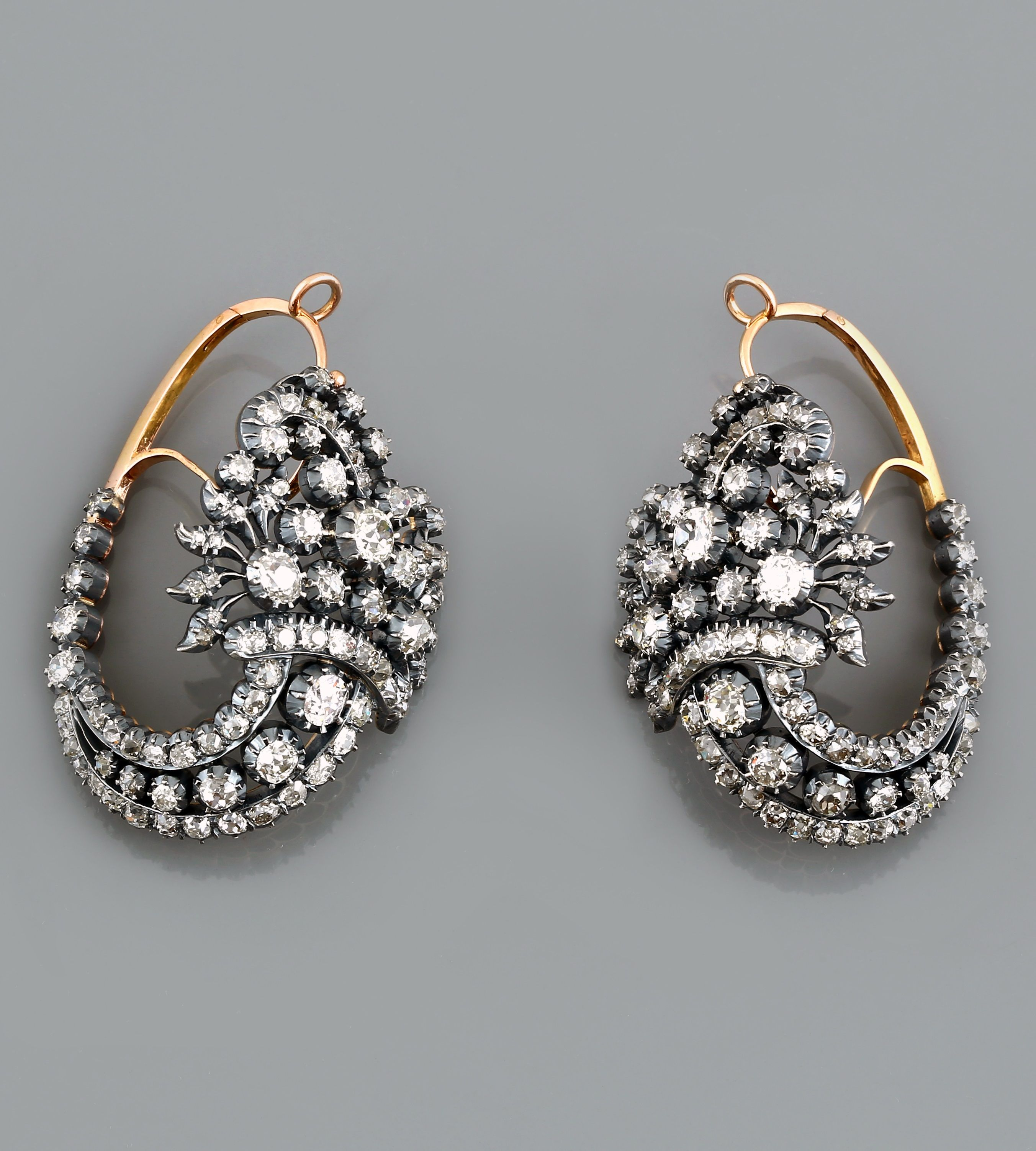 mine gold earrings cut de antique jewelry old keils antiques cluster diamond