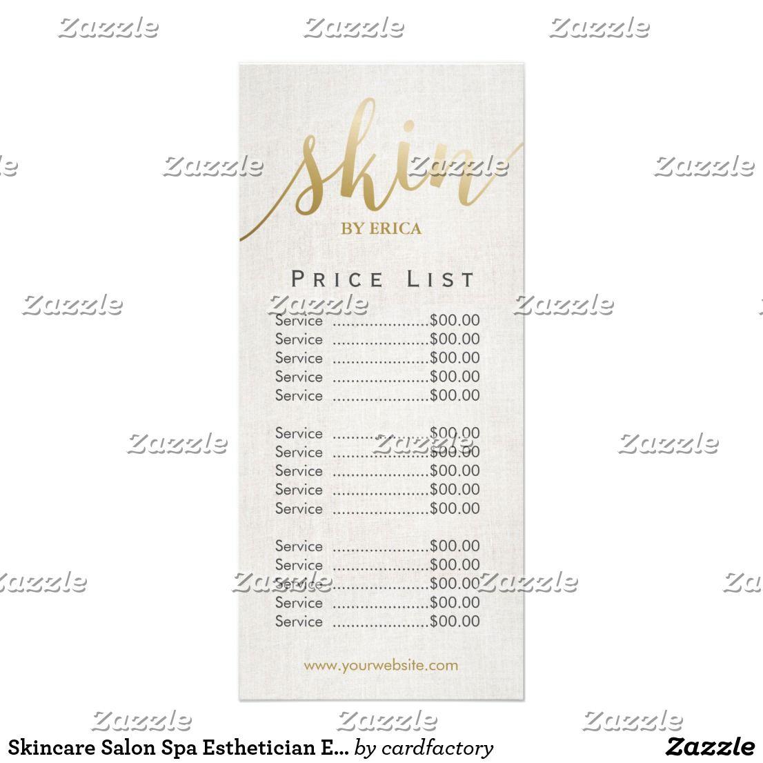 Skincare Salon Spa Esthetician Elegant Price List Rack