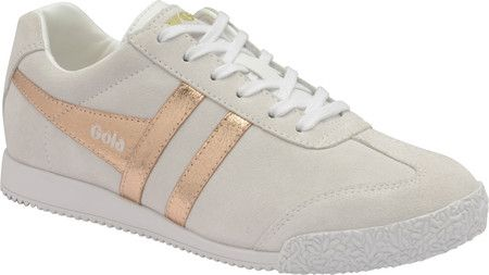 81405e0aa1 Women's Gola Harrier Mirror Sneaker - Natural/Rose Gold Suede with ...