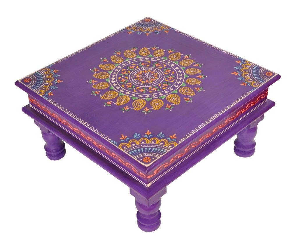 Chowki 12 Inch Pooja Chowki Wood Table Bedroom Furniture Etsy In 2020 House Warming Gifts Decorative Furniture Painting Purple Table