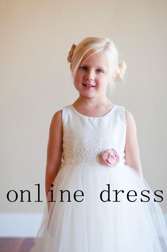 The Duchess Dress  Lace flower girl dress .tulle by onlineDress, $89.00