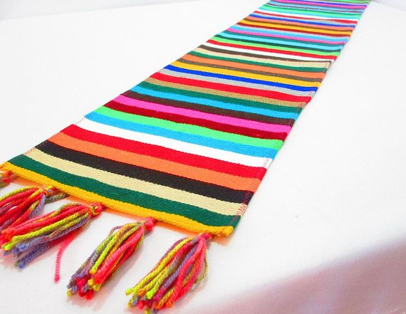 Mexican Table Runner, Serape Fabric Table Cloth From Mexico, Table Linen,  Bohemian Decorations