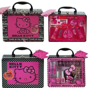 Amazon.com  Hello Kitty 43 Piece Boxed Cosmetic Set In Tin  Kitchen   Dining 98bacb8f0fa1b