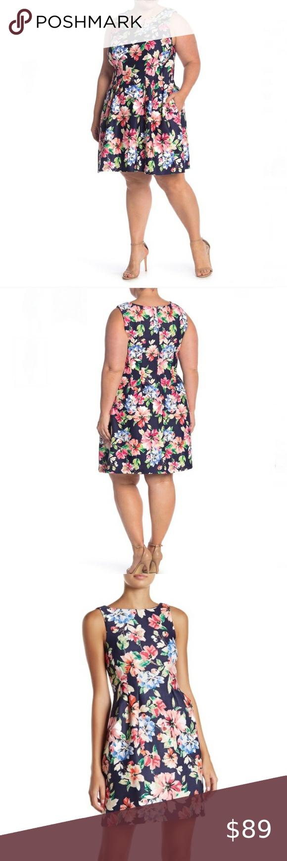Vince Camuto Nwt Floral Fit Flare Scuba Dress Scuba Dress Long Sleeve Shift Dress Floral Dress Design [ 1740 x 580 Pixel ]