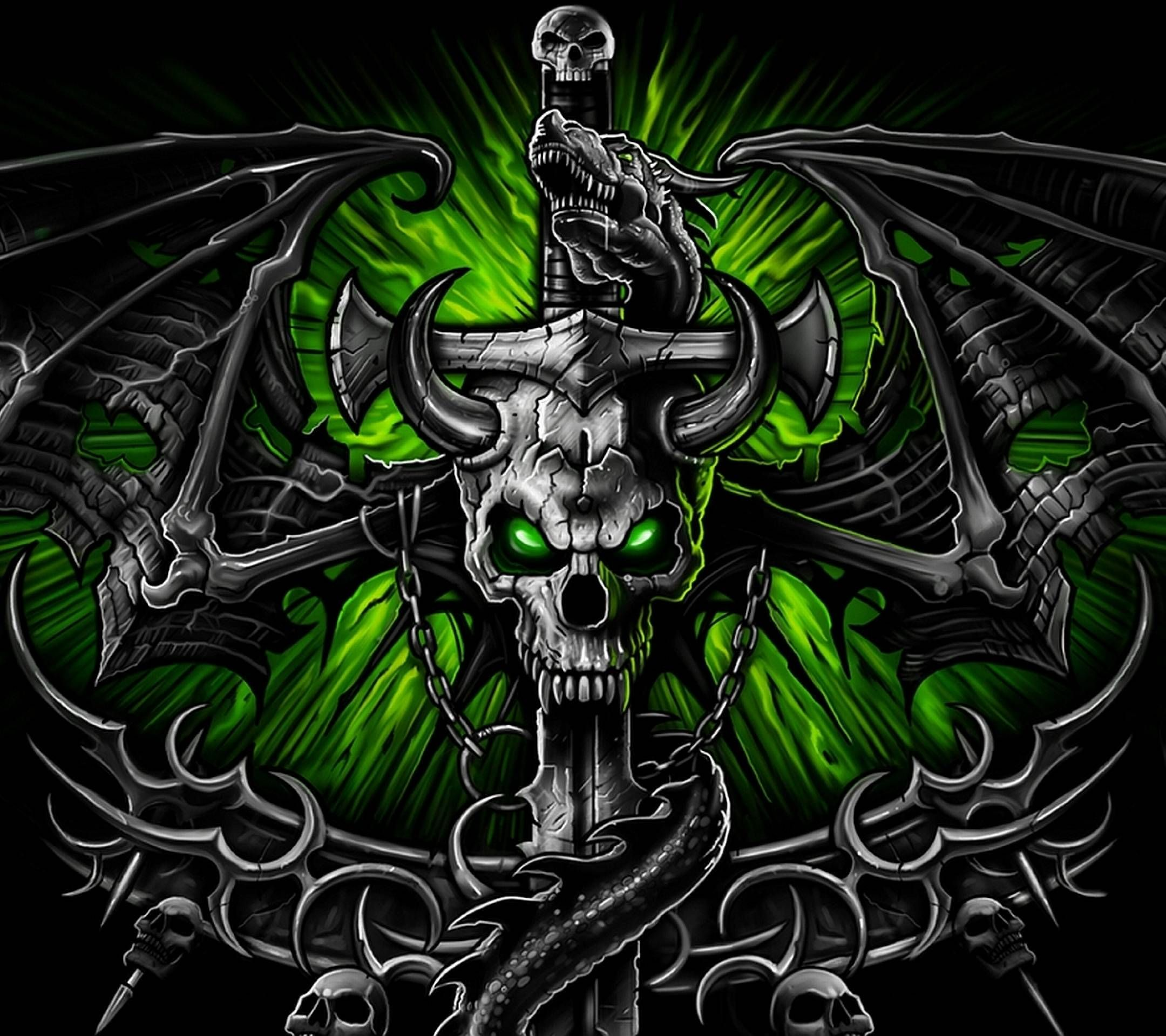 Green Skull Wallpapers - Wallpaper Cave