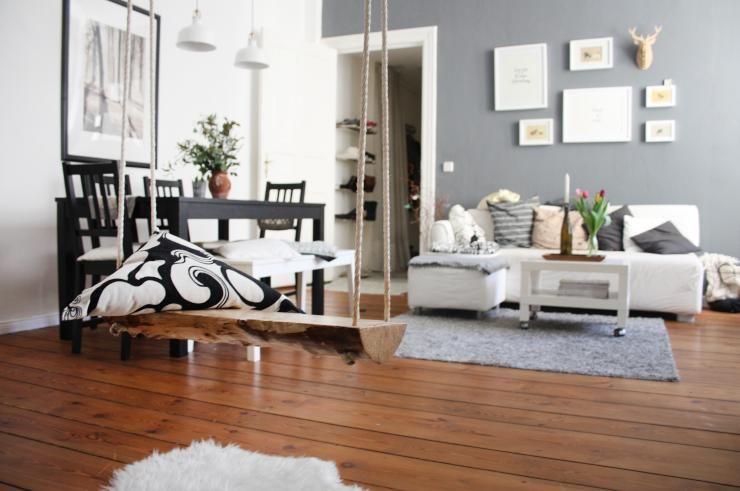 Schaukel Wohnzimmer ~ Superschöne diy idee fürs wohnzimmer schaukel aus holzstück und