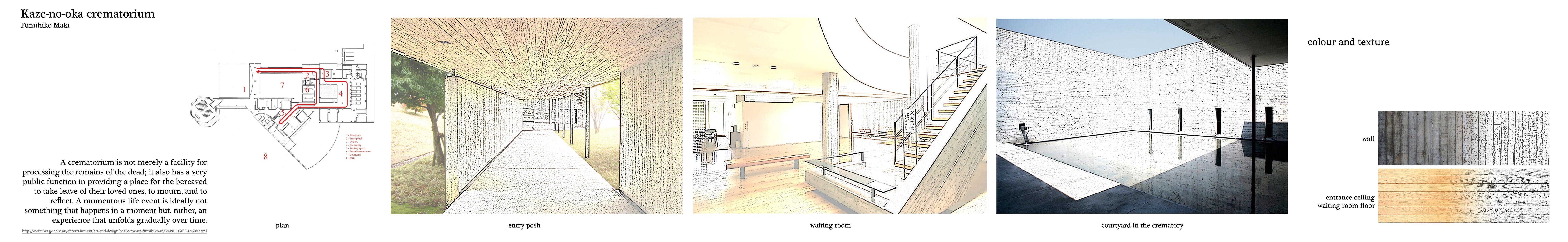 week 6 precedents study Kaze no oka crematorium by Fumihiko Maki colour
