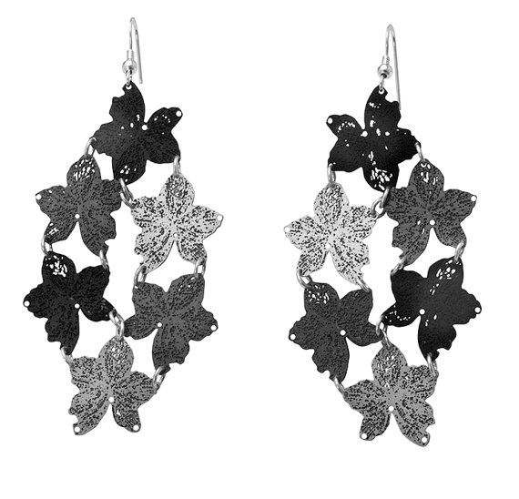 Long black and silver plated nature leaf metal lace by inbarshahak, $98.00