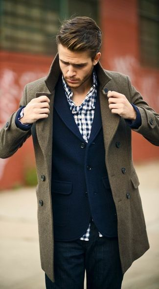 Men's Olive Pea Coat, Navy Blazer, White and Navy Gingham Long Sleeve Shirt, Navy Jeans