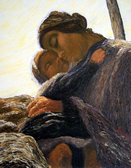 detail - Giovanni Segantini (January 15, 1858 - September 28, 1899) Ave Maria a trasbordo (1st version) 1882