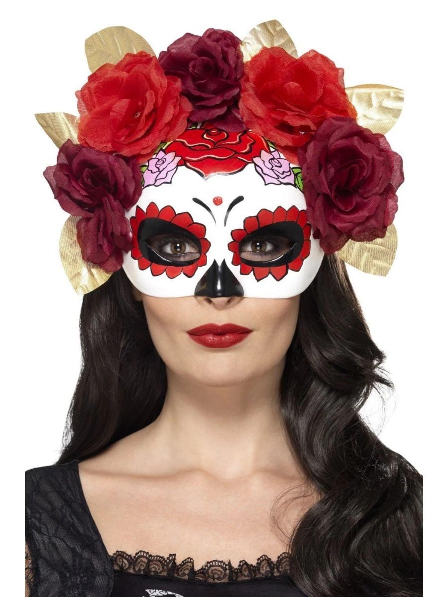 NEW White Sugar skull red rose Masquerade Mask Eye Gothic halloween fancy dress