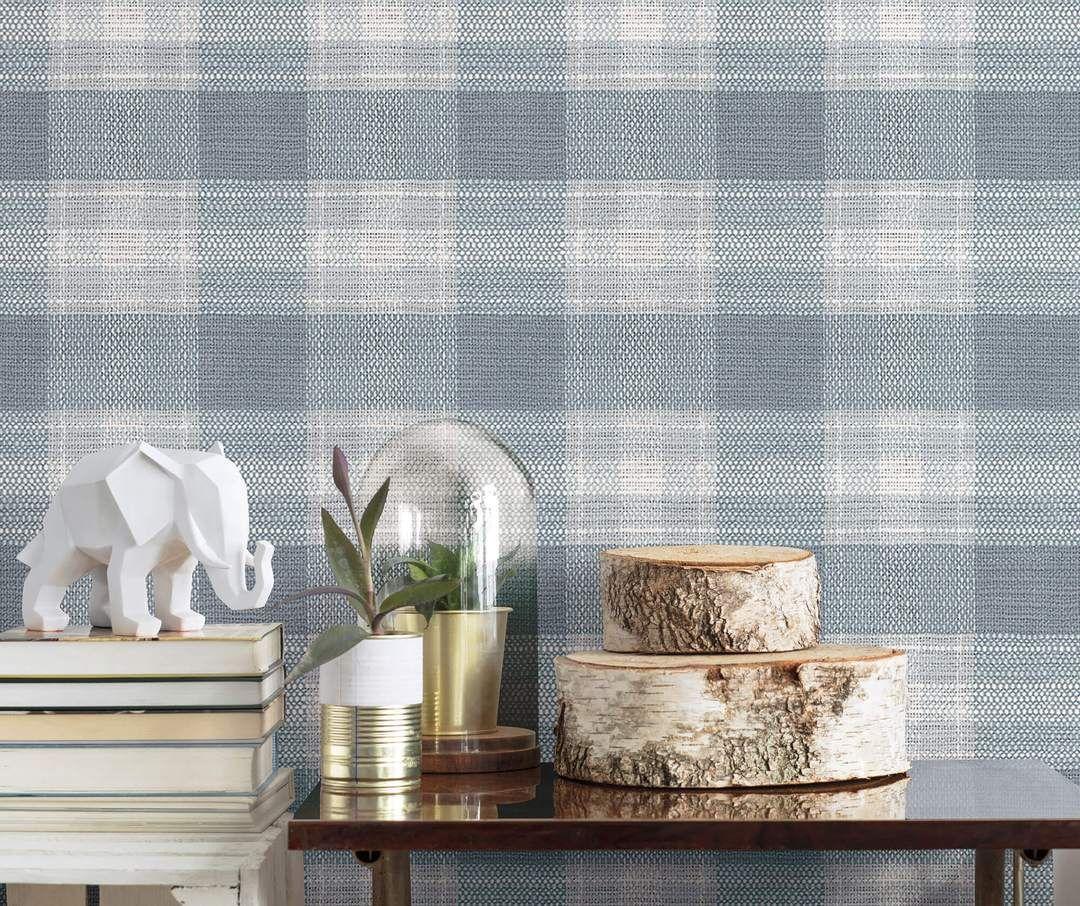 Simply Farmhouse Woven Buffalo Check Wallpaper Blue in
