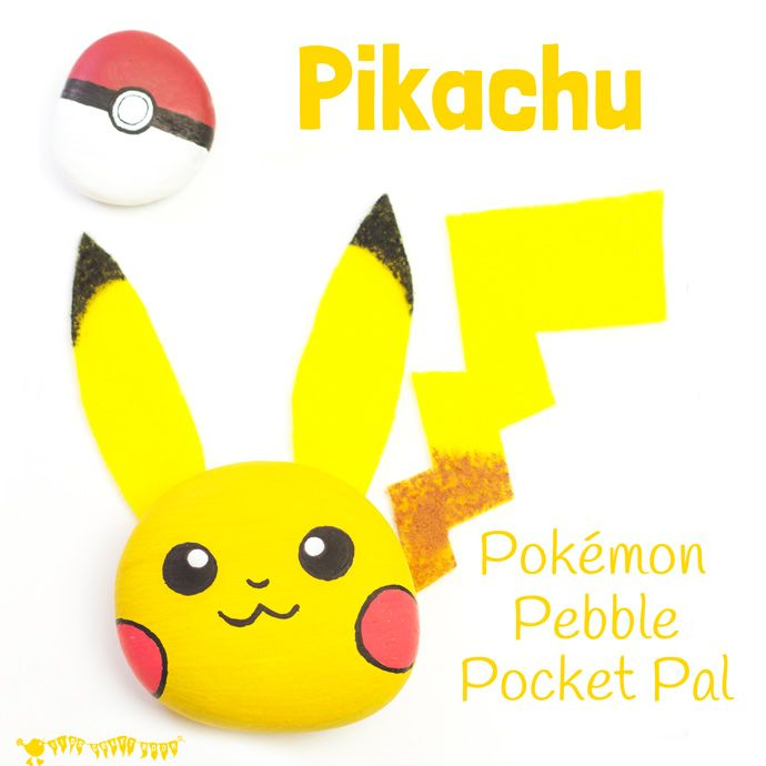 Easy and cute Pikachu Craft - a Pokémon pebble craft pocket pal you can actually play with! A great Pokemon DIY for Pokemon Go fans...gotta catch 'em all!