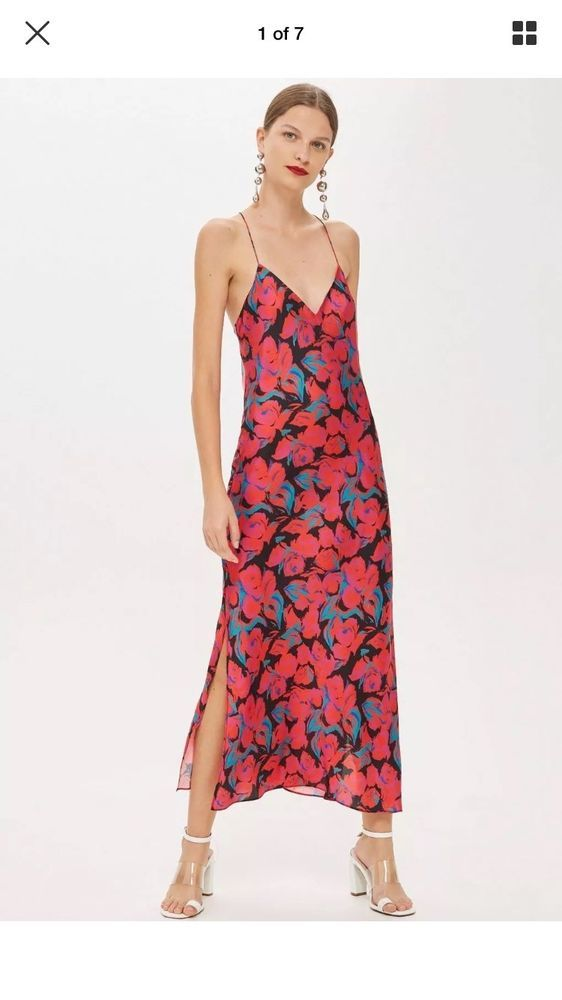 d1c5d5acb143 BNWT Topshop red/pink Floral Midi Silky Cami Size 6 Celebrity Blogger Dress  #fashion #clothing #shoes #accessories #womensclothing #dresses (ebay link)