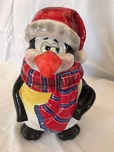 9172313eacd3e Vintage Penguin Plaid Scarf Santa Hat Cookie Jar DCI