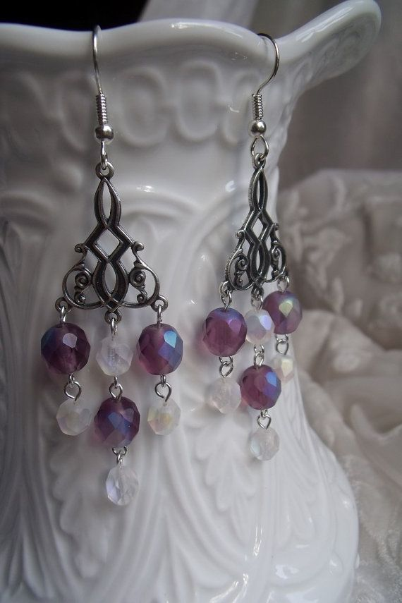 Vintage Style/Art Deco Matte Purple and Crystal by EgeriasWell, $25.00