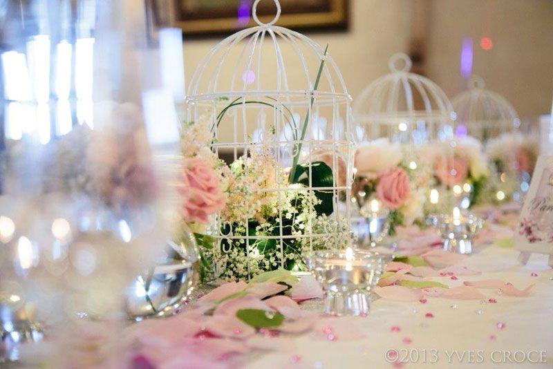 cage oiseau fleurs rose p le centre de table. Black Bedroom Furniture Sets. Home Design Ideas