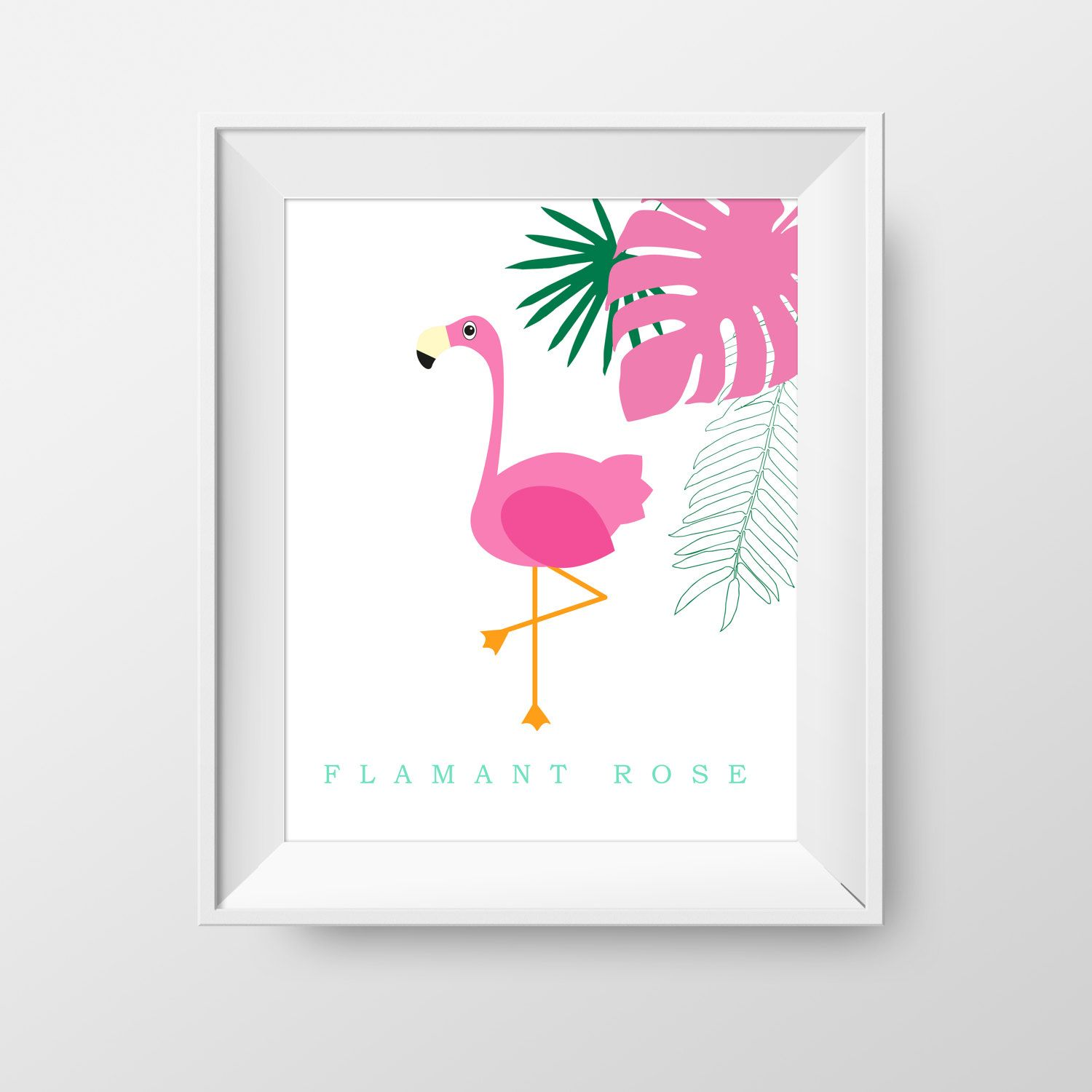 Poster 8X10 flamingo and leaf Poster for child room flamingo and