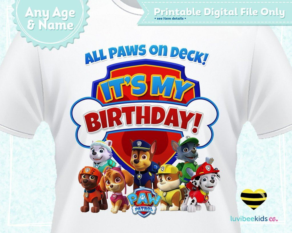 Paw Patrol Iron On Transfer For Birthday Shirt Printable Image For Any Name Age