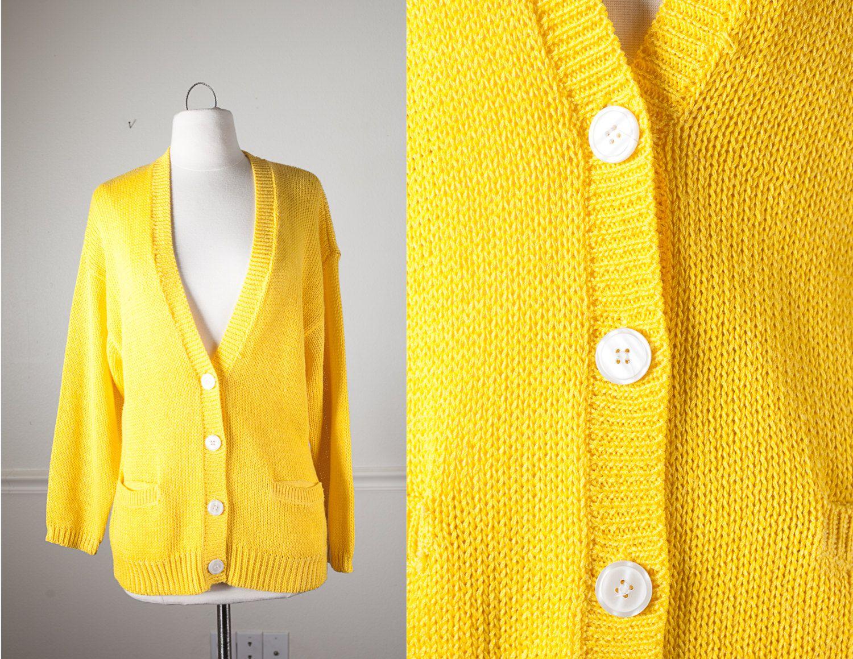 Bright Yellow Boyfriend Sweater, Yellow Sweater, Boyfriend ...