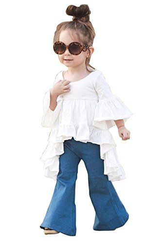 c25499ff 2pc Toddler Kids Baby Girls Outfits Cotton tops Denim Flared pants Clothes  Sets 5-6Years White