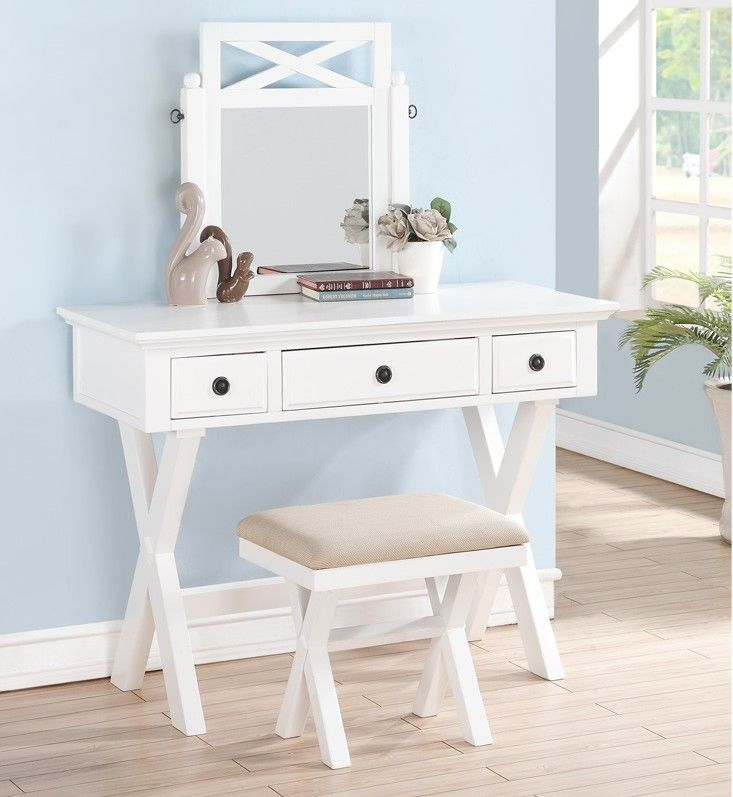3 Pc White Finish Wood Make Up Bedroom Vanity Set With Cross Legs