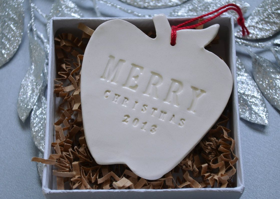 Teacher Gift Apple Merry Christmas Ornament 2014 by Susabellas