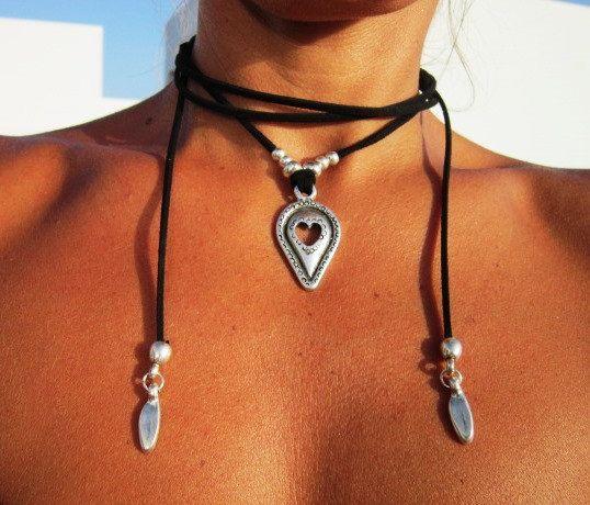 minimalist jewelry Wrap necklace with leaf pendant bohemian hippie jewelry boho necklaces