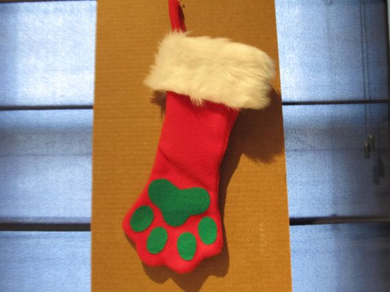 Paw Print Christmas Stocking by SCCDogApparel on Etsy, $19.99