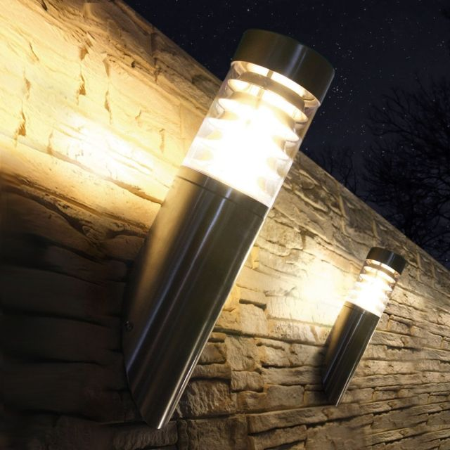 LED Wandleuchte, Außenleuchte, Wandlampe, Edelstahl, IP44, E27 230V, (