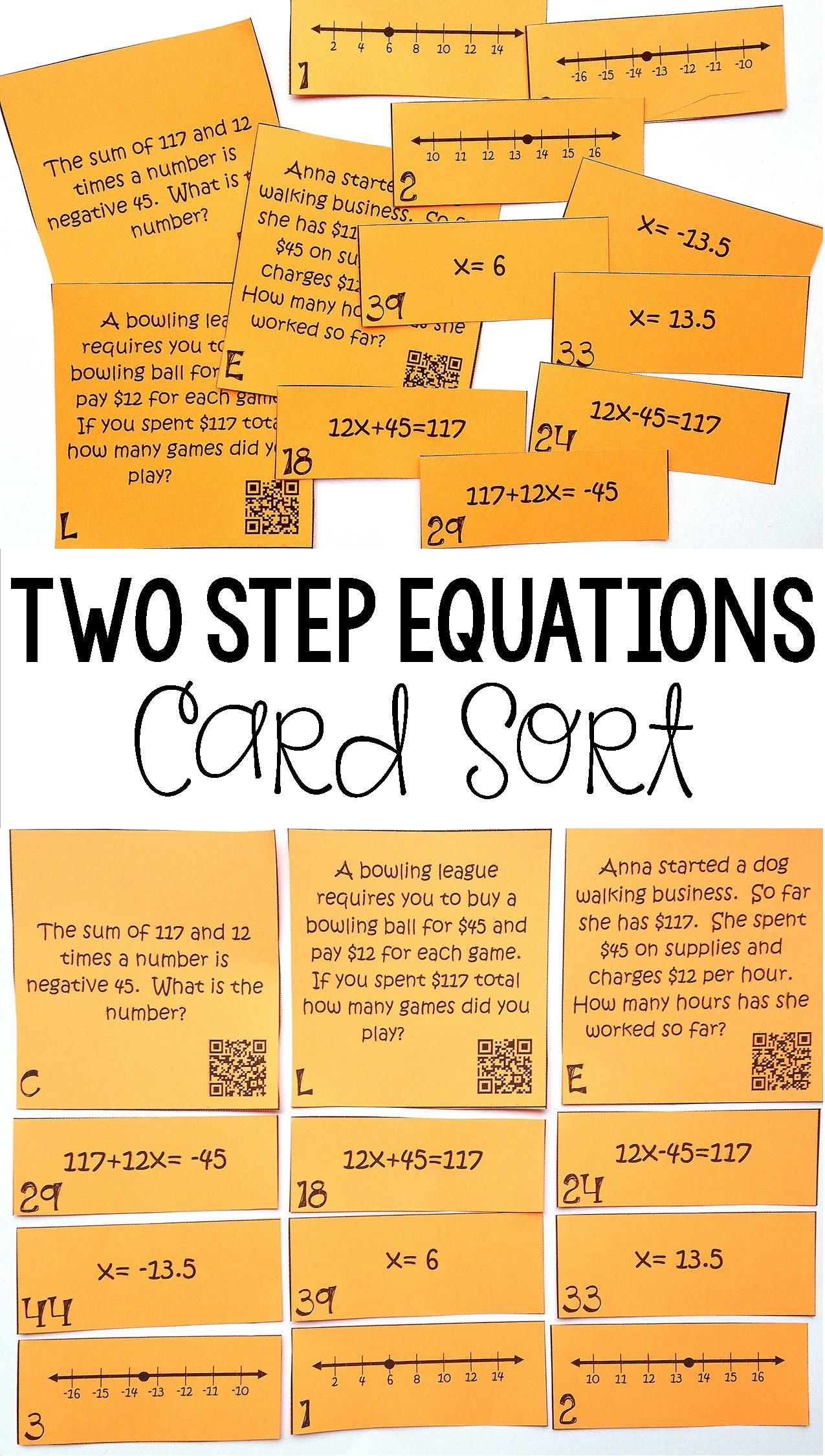 Worksheets Two Step Word Problems Worksheets writing solving two step equations on a number line math my 7th grade students loved this equation