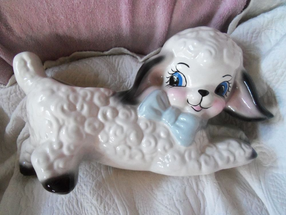Vintage huge lamb with blue bow planter baby showerflowers vintage huge lamb with blue bow planter baby shower flowers hospital gift negle Image collections