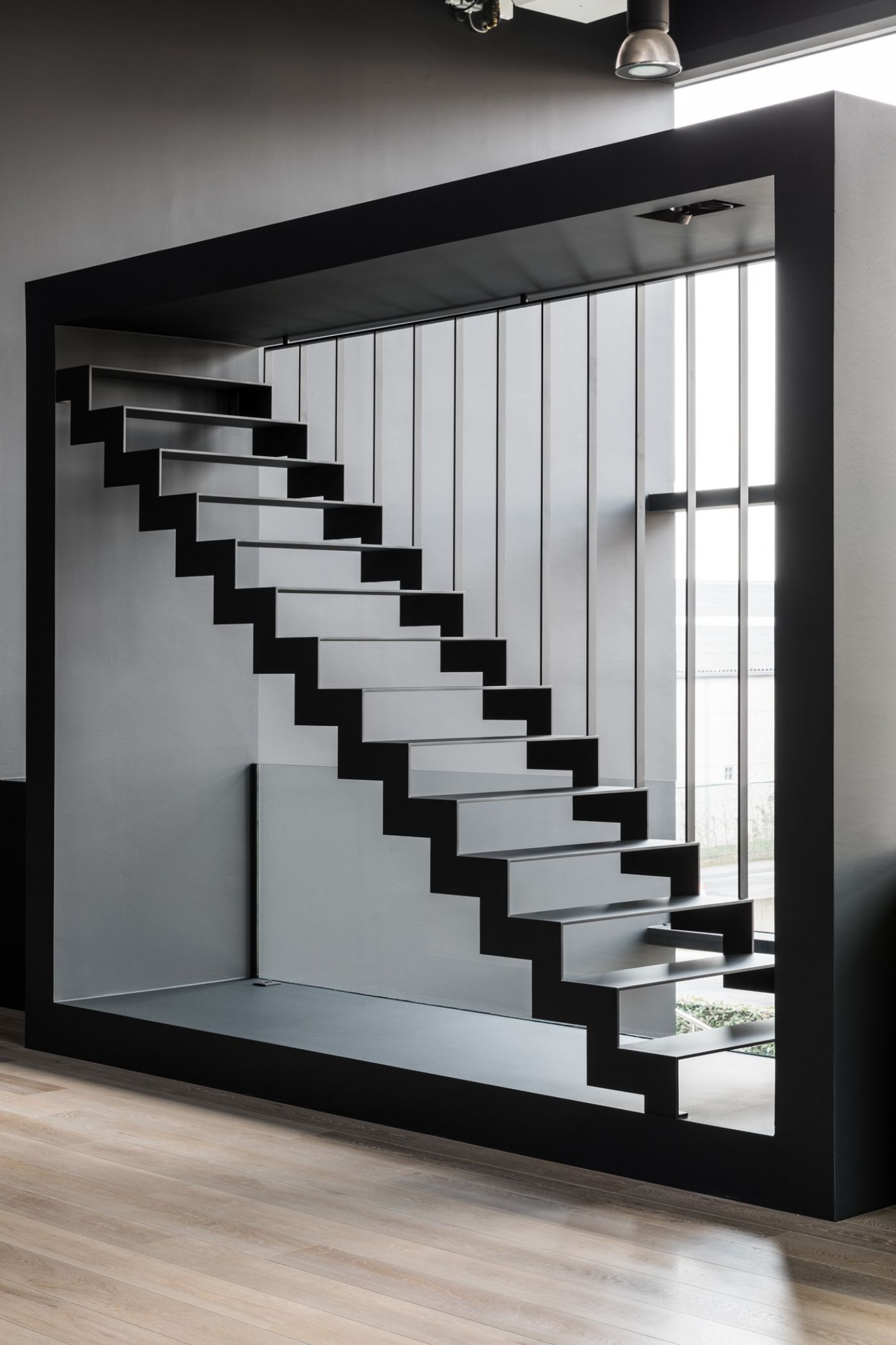 Best The Thin Black Steel Is A Modern Steel Staircase With Wear 640 x 480