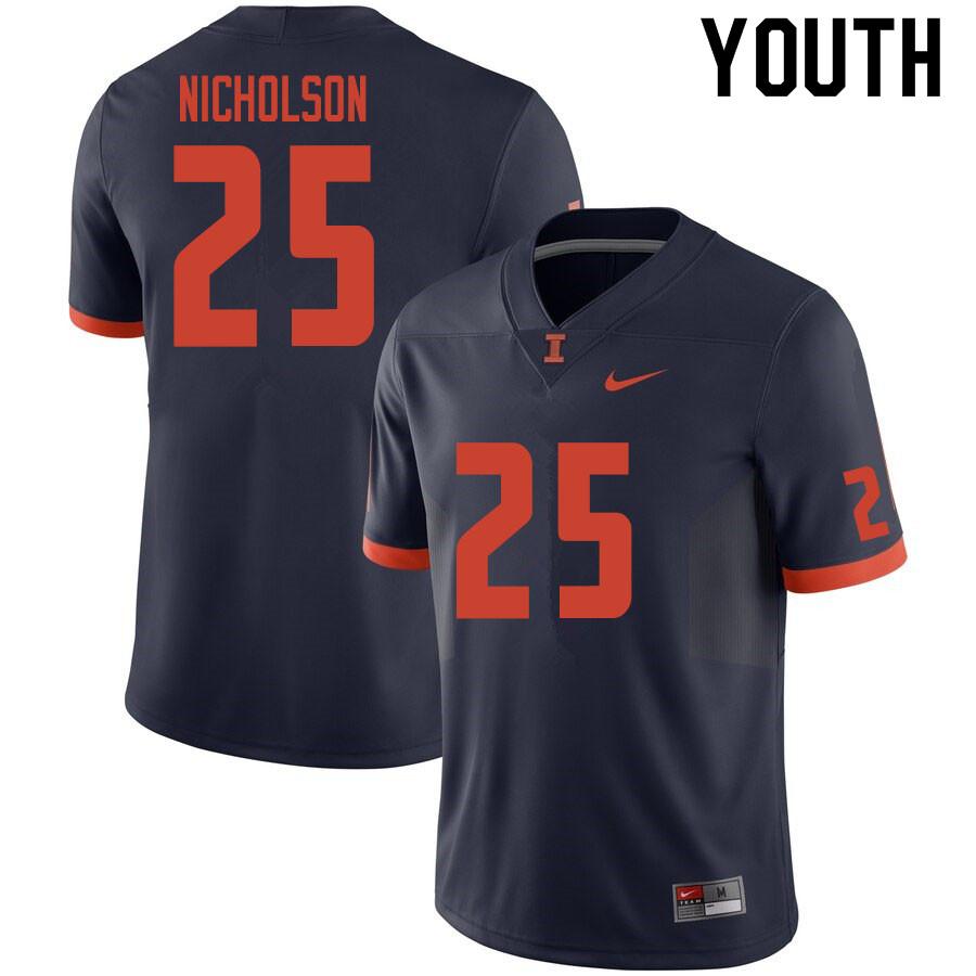 Youth 25 Tahveon Nicholson Illinois Fighting Illini College Football Jerseys Sale Navy In 2020 Illinois Fighting Illini College Football Football Jerseys