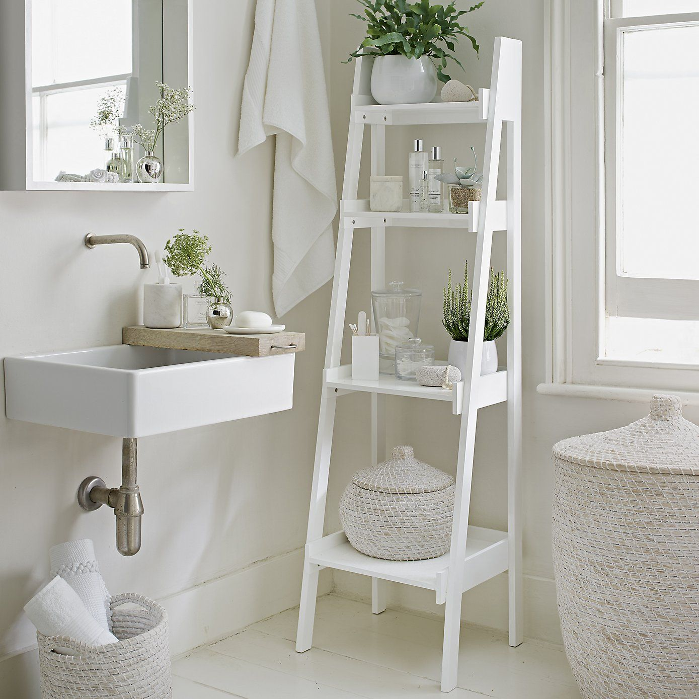 Bathroom Lacquer Ladder Shelf | Bathroom ladder shelf, Bathroom ...