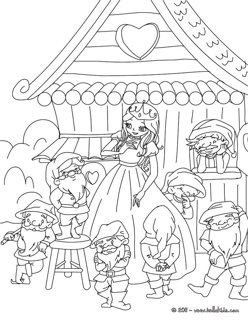 GRIMM fairy tales coloring pages Little Snow White and
