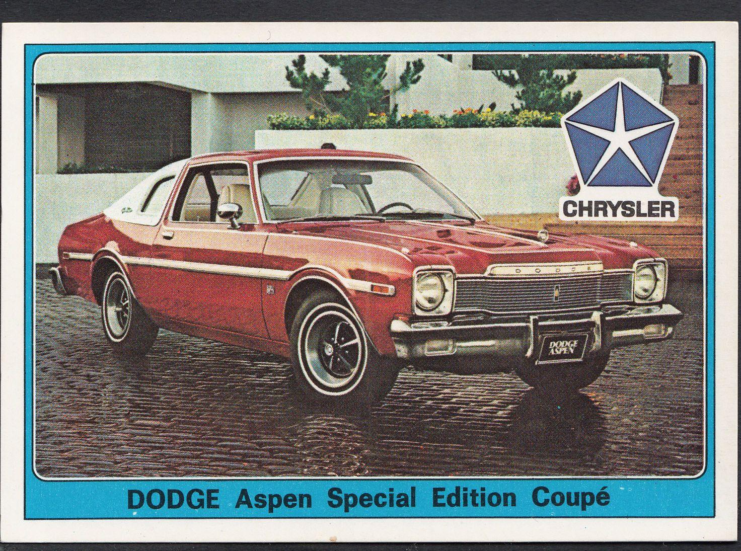 Panini Super Auto 1977 Sticker No 83 Vintage Car Chrysler Dodge Aspen Dodge Aspen Chrysler Vintage Cars [ 1095 x 1472 Pixel ]