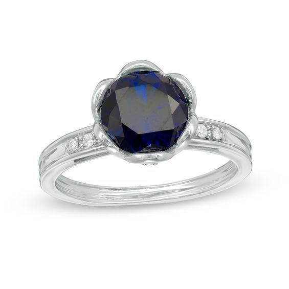 Zales Mens 9.0mm Cushion-Cut Lab-Created Blue Sapphire and 1/8 Ct.t.w. Diamond Framed Ring in Sterling Silver PFjPl