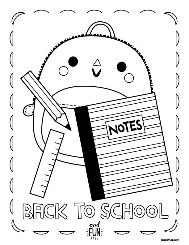 Nod Printable Coloring Page Back to School Free printable