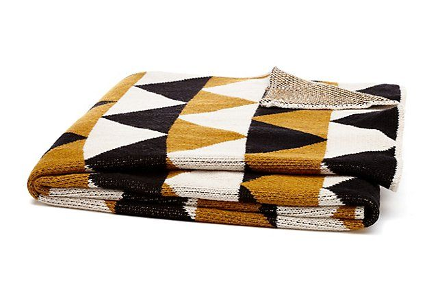One Kings Lane - Prints & Patterns - Triangle Cotton Blend Throw, Gold
