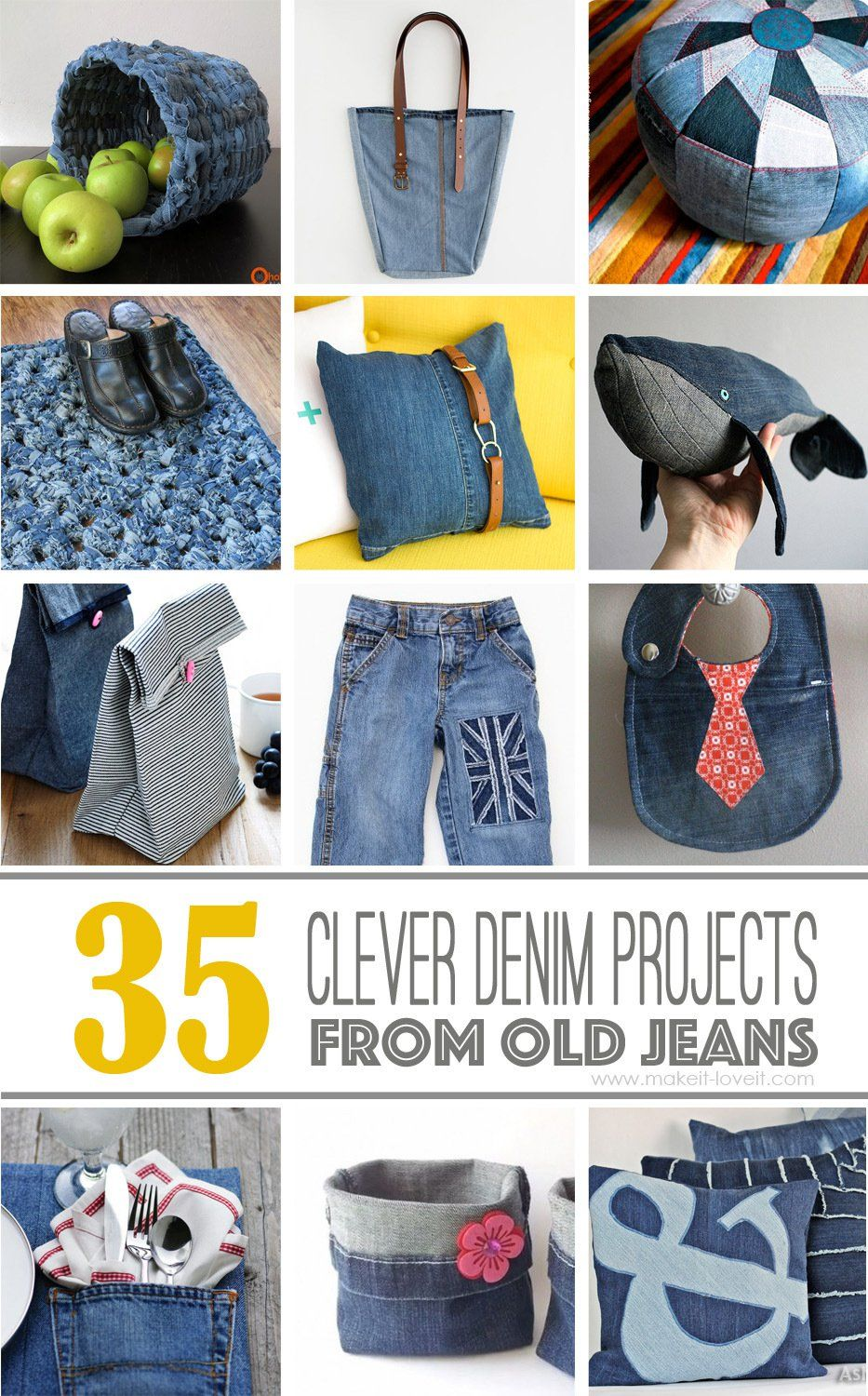 35 Creative DIY Craft Ideas For What to Do With Old Jeans | Nähideen ...
