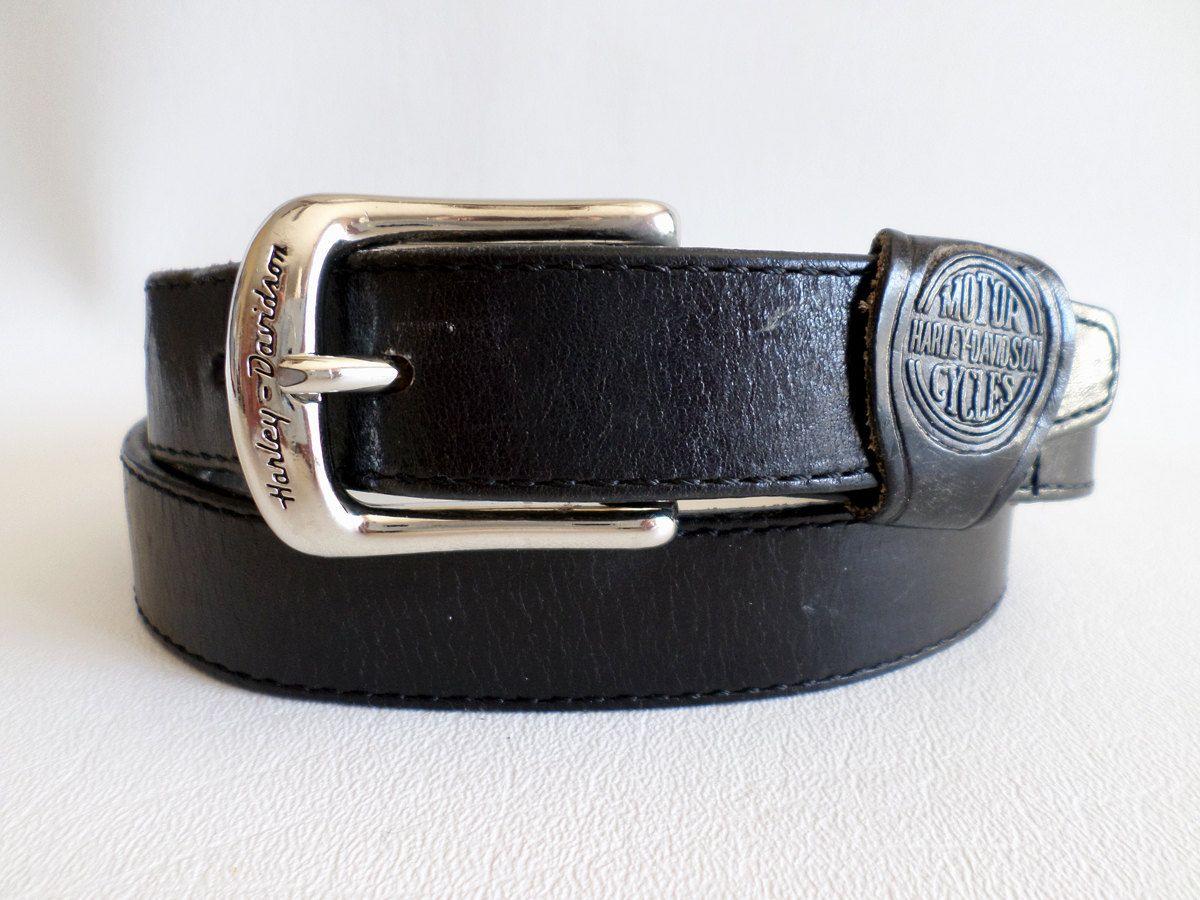 Size 28 71 cm Vintage Harley Davidson Black Leather Belt w