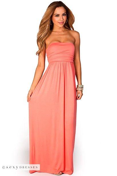 47b37afc9149 Coral Tube Top Maxi Dress | Sexy Maxi Dresses | Coral maxi dresses ...