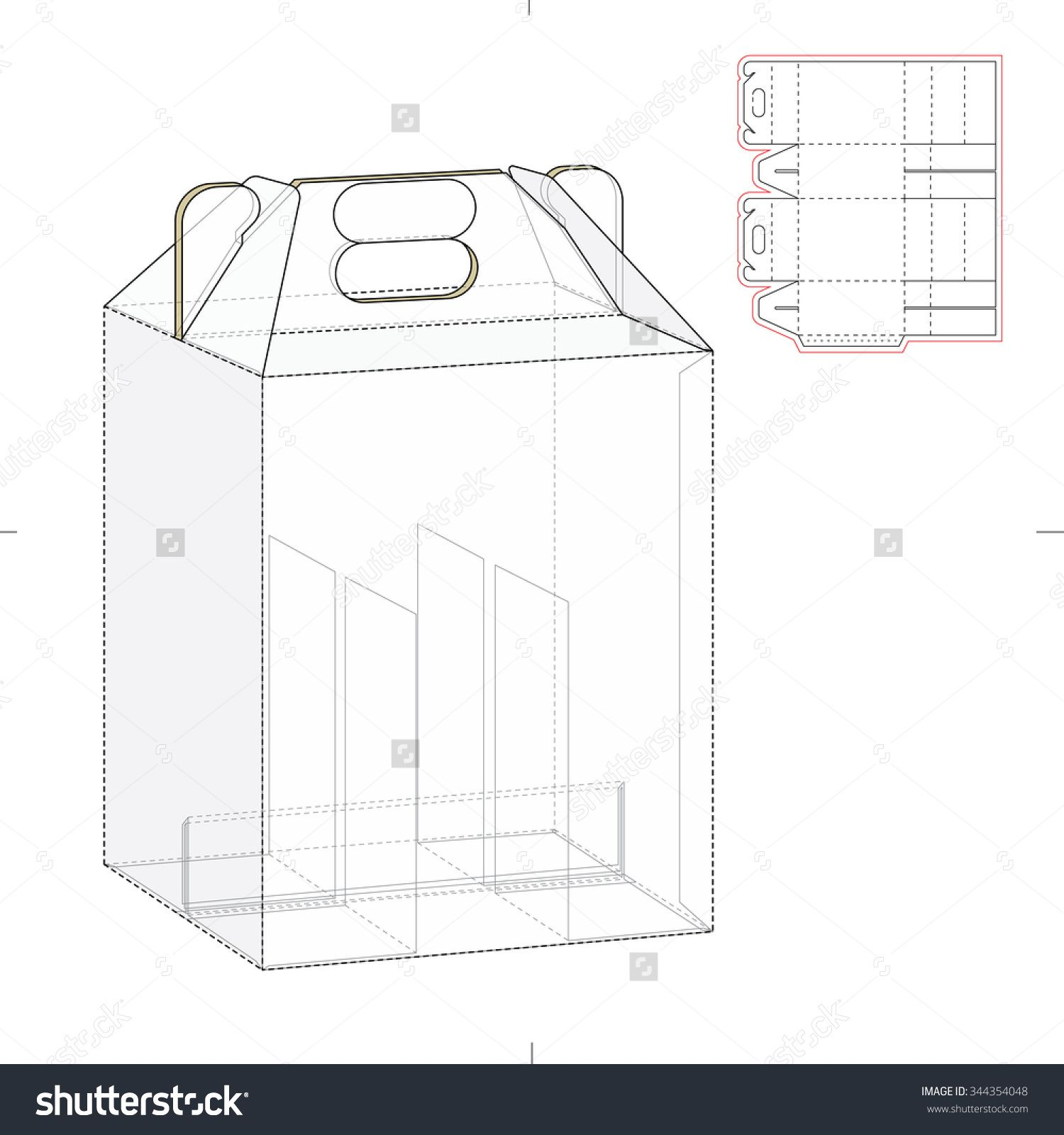 Six Pack Carrier Box With Die Cut Template Stock Vector Illustration