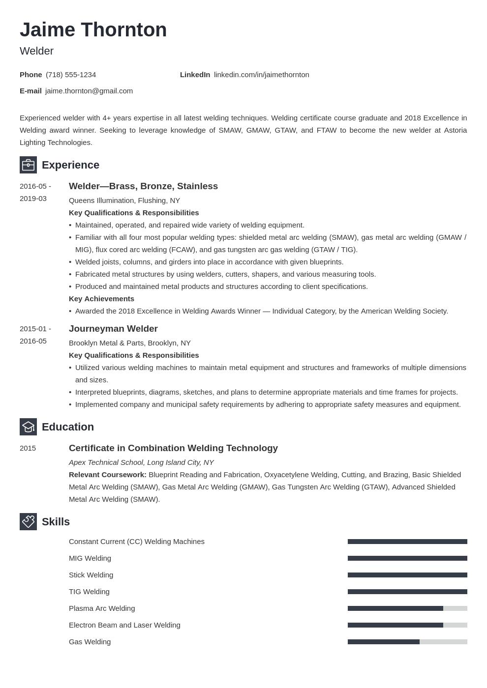 Welder Resume Example Template Newcast Job Resume Examples Resume Examples Job Description Template