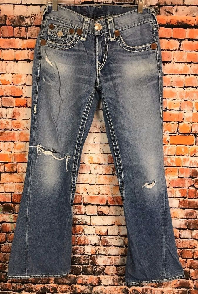 Authentic True Religion Joey Super T Boot Cut Denim Ripped Mens Size 31 X 30  #TrueReligion #BootCut