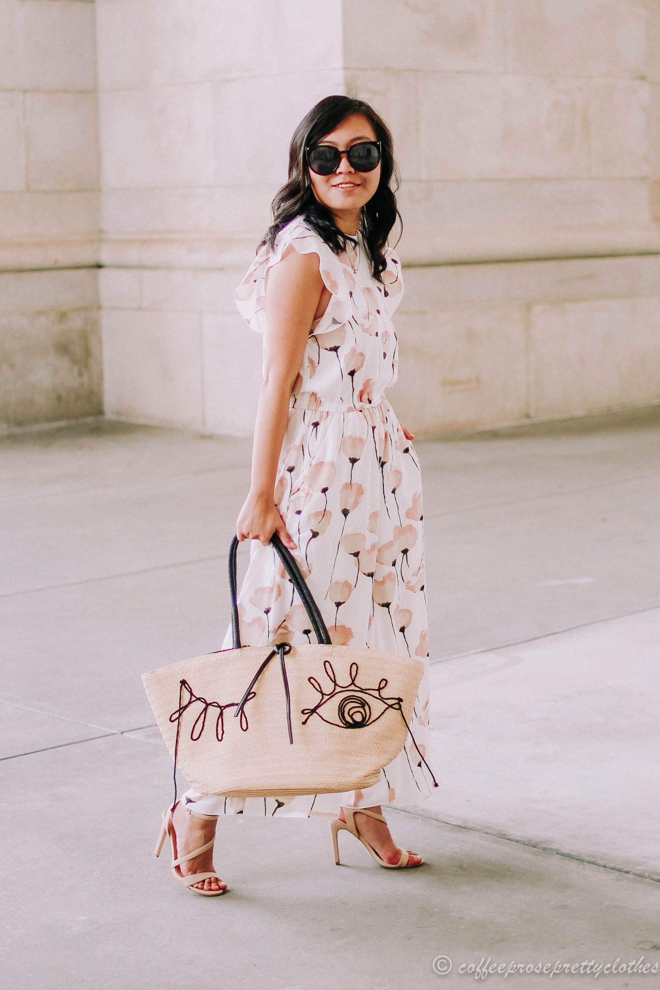 a747777055 The perfect  jumpsuit and  strawbag combination for the summer! Jumpsuit is  the Aritzia Wilfred Fleurette jumpsuit and the bag is from H M