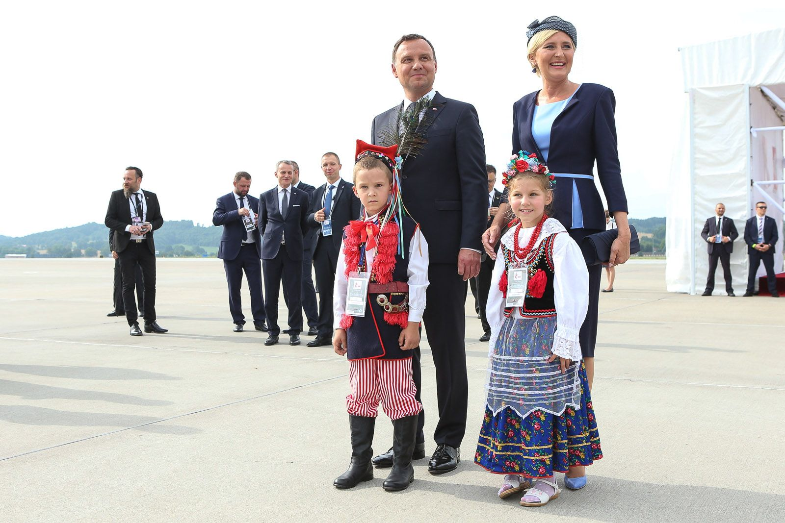 waiting for Pope... young Polish children in folk clothing from Krakow region