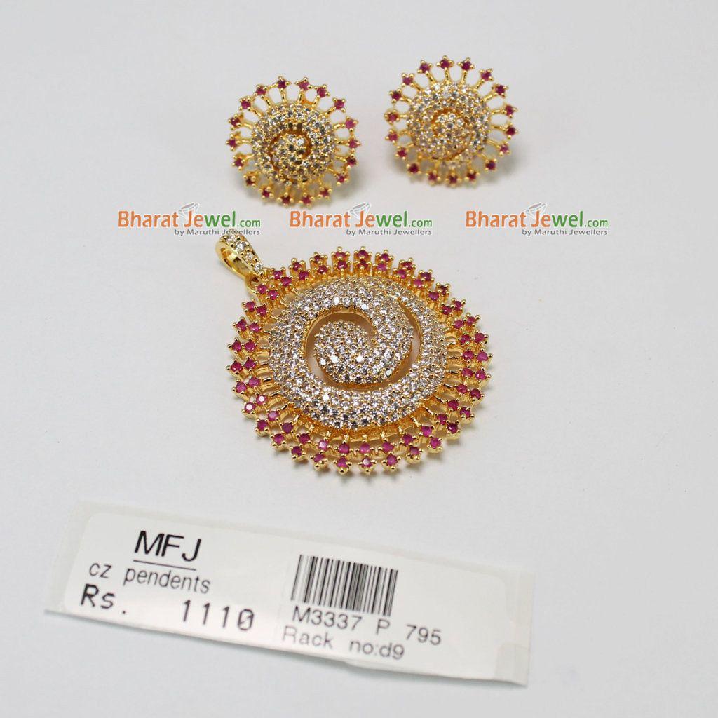 Zircon u ruby pendent set online bharatjewel pendants pinterest