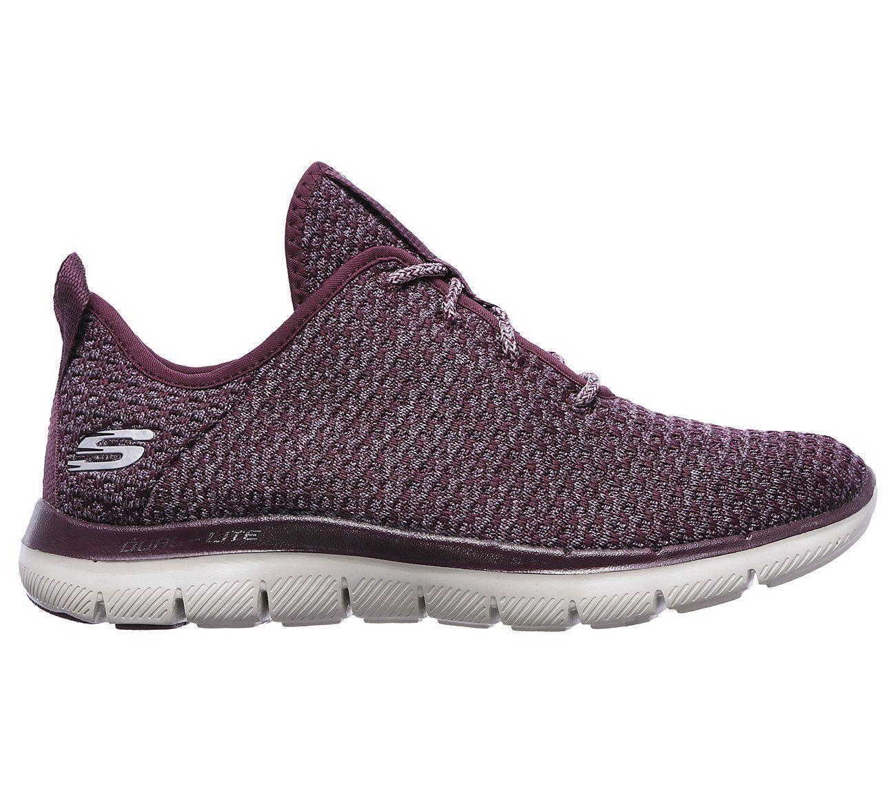 12773 Plum Skechers Shoes Memory Foam Women Slipon Comfort Casual